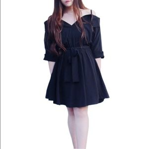 Cold shoulder black front tie dress